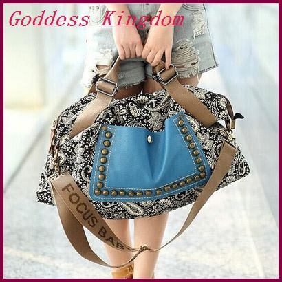 2015 New design vintage canvas bag women shoulder bags pu leather handbags casual cross-body bags for women A8007(China (Mainland))