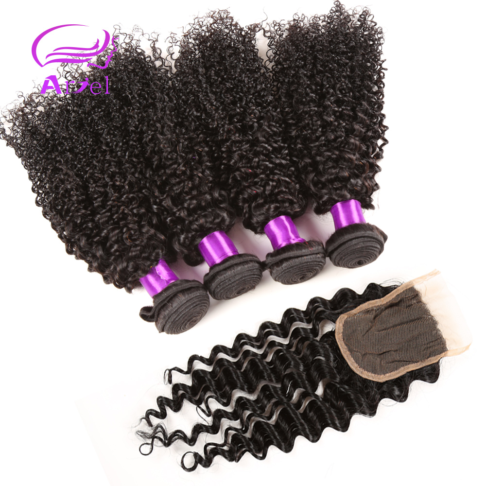 7A Brazilian Virgin Hair With Closure 4 Bundles With Closure Human Hair Bundles With Lace Closures Afro Kinky Curly Virgin Hair