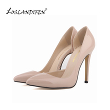 LOSLANDIFEN Two-Piece Nude Women's Pumps Women Thin High Heels Shoes Pointed Toe Sexy Pumps Party Dress Shoes Woman 302-18PA(China (Mainland))
