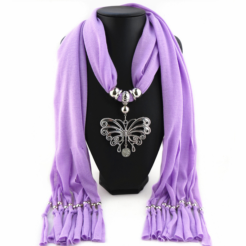 Good quality Low Puerile Alloy Butterfly Pendant Scarves Jewelry Shawl fringed scarves fashion women Necklace pendant scarves(China (Mainland))