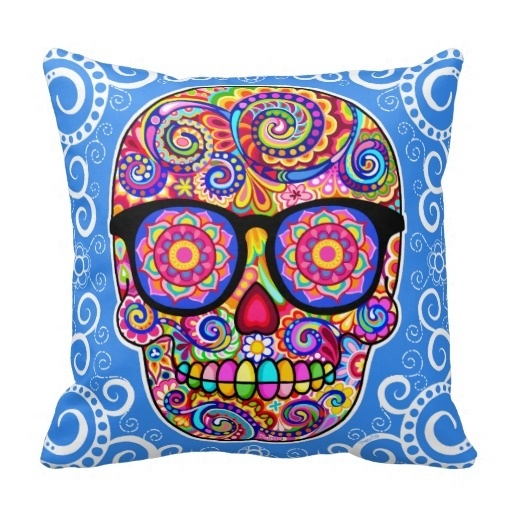 Hot Hipster Sugar Skull Pillow Case Day Of The Dead Art (Size: 45x45cm) Free Shipping