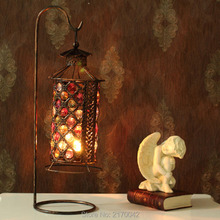 Vintage Iron Acrylic Hanging Lamp Moroccan Style Candlestick Candleholder Candle Stand Light Holder Lantern(China (Mainland))
