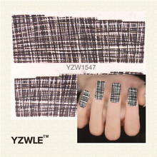 YZWLE 1 Sheet Black Plaid DIY Decals Nails Art Water Transfer Printing Stickers Accessories For Manicure Salon