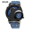 MILER Brand New Fashion Military Men s watch Multiple Time Zone Leather Strap Sports Quartz Watch