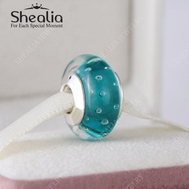 Shealia ювелирные изделия стерлингового серебра 925 тэал синий муранского стекла бусины для женщины европейский известная марка браслеты DIY изготовления ювелирных изделий