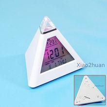 G104 New LCD Pyramid Clock Alarm Multi Color Night(China (Mainland))