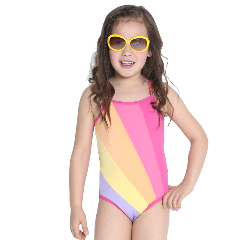 girl's swimwear Female hot spring child one piece baby striped color block decoration - Angela Miyao's store