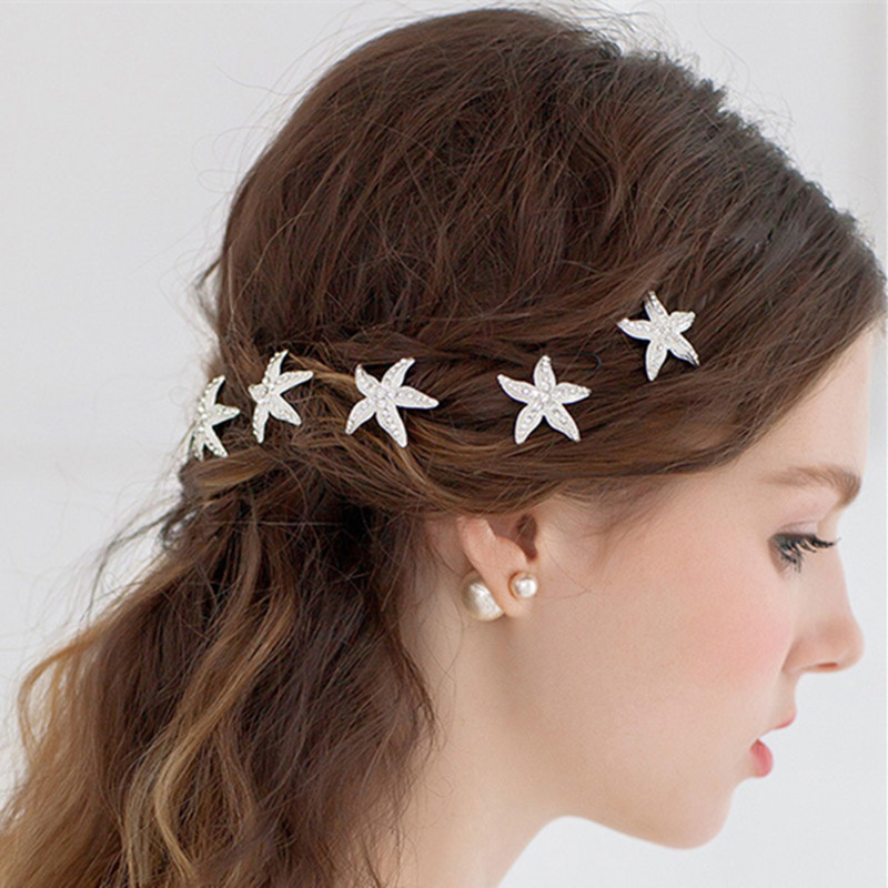 5pcs/lot Wedding Bridal Crystal Starfish Flowers Hairpins Hair Bridesmaid U Clips For Women Sticks Coil Spiral Pins Accessories(China (Mainland))