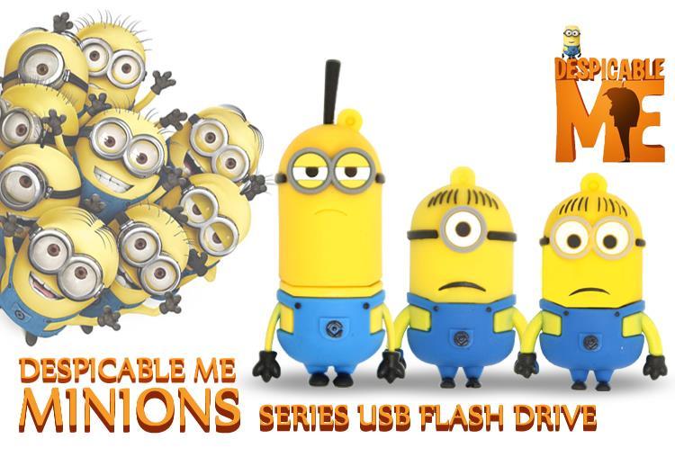 USB Flash Drive Cute Minions Series USB Pen Drive 32GB Pendrive 16GB USB Memoria stick Flash Memory Stick Drive free ship(China (Mainland))