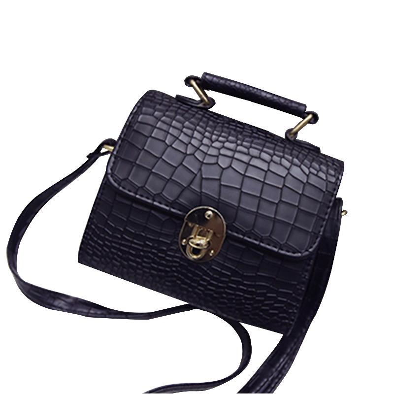 2016 new tide female bag crocodile buckle decorated small square minimalist shoulder bag handbag diagonal package(China (Mainland))