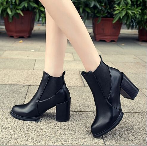 2015 New Ankle Boots Women Square Heels pointed Toe Warm winter Shoes Motorcycle Leather black PU leather boots - Whats Apparel store