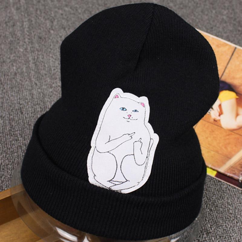 New Fashion 2015 Brand Designer Print White Cat Extend Middle Finger Winter Hats for Women Men Autumn Warm Knit Beanie 19657Одежда и ак�е��уары<br><br><br>Aliexpress