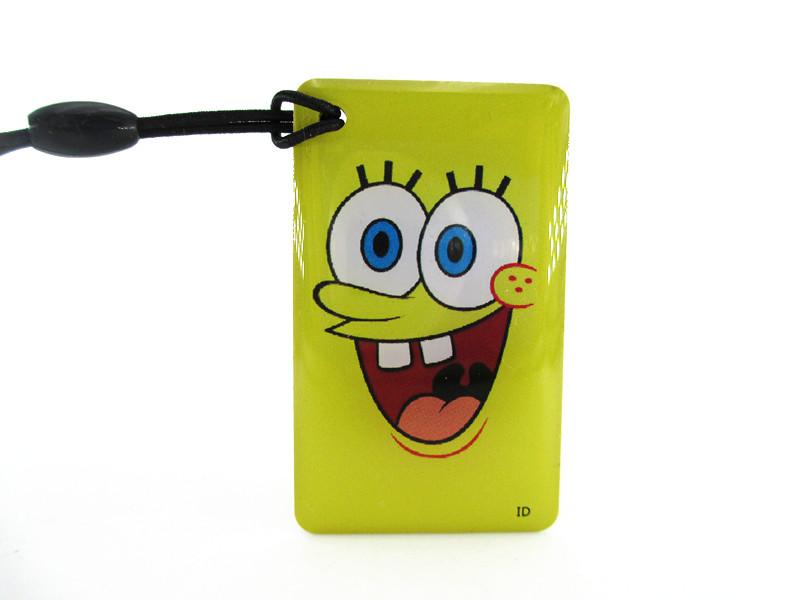 5pcs/lot cartoon SpongeBob SquarePants  EM4305 125Khz RFID Writable Rewrite Proximity ID Token Tag Key Keyfobs blank card