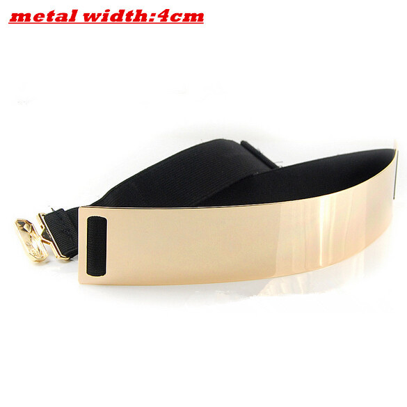 elastic mirror metal waist belt metallic bling gold plate