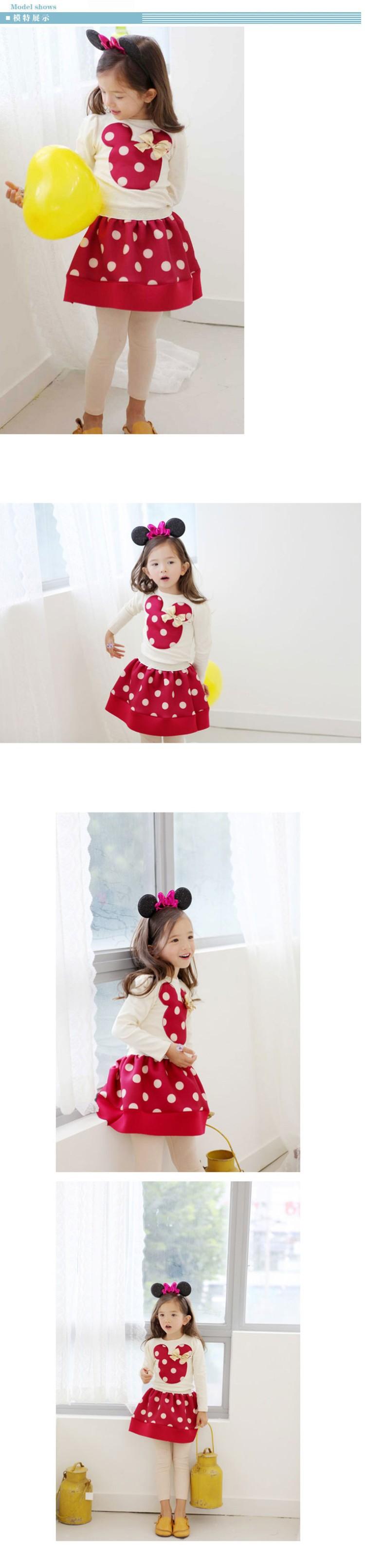 2016 Children clothing long sleeve Dot mickey T-shirt + Skirt 2 Pcs Suit girl dress kids clothes sets baby vestidos princess
