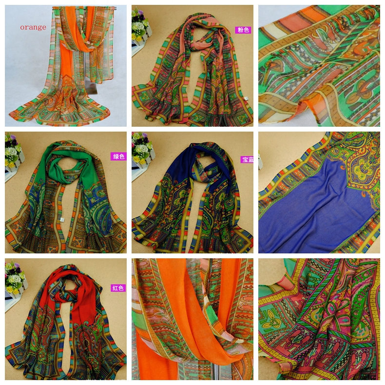 Selling Hot ! Indian style Chiffon Shawl Wraps Cowl Scarf 160 X 50cm 5 Colors ab775(China (Mainland))