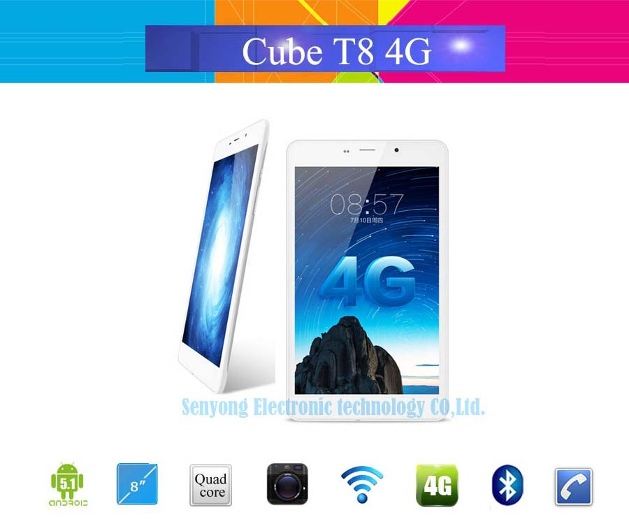"Original CUBE T8 4G LTE Tablet PC 8"" IPS 1280x800 Android 5.1 MTK8735 Quad Core Phone Call 1GB RAM 16GB ROM 2.0MP Camera OTG(China (Mainland))"
