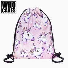 Buy Pink unicorn small Backpack women 3D printing travel softback men mochila drawstring bag School girls backpacks sac dos for $3.99 in AliExpress store