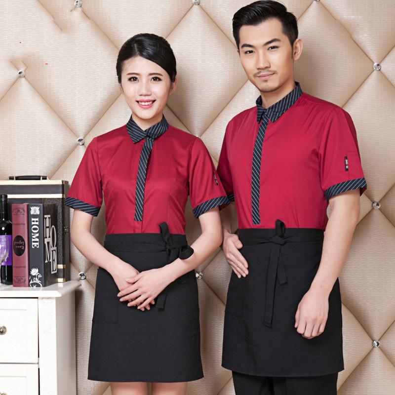 Wholesale Short-sleeved Summer Wear Restaurant Uniform Restaurant Waiter Uniform Hotel Waiter Clothes(China (Mainland))