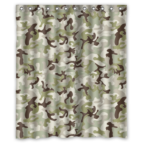 Camouflage Pattern Polyester Shower Curtain 60 X 72 Decorative Design