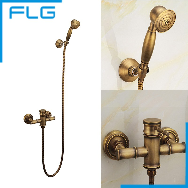 Wall Mounted Antique Brass Bronze Brushed Bathtub Faucet with Hand Shower Bathroom Shower Faucets torneiras FLG40007A(China (Mainland))