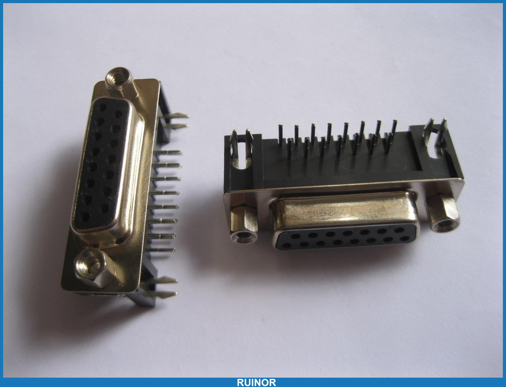 10 Pcs D Sub 15 Pin Female Connector Right Angle 2 Rows(China (Mainland))