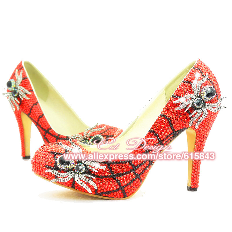 2015 Unique Design Sexy High Heel Red Crystal Spider Funky Wedding Bridal For Evening Party Shoes Woman(China (Mainland))