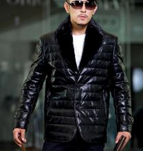 Brand 2013 Men leather Coat Down Jackets motorcycle Winter Men's Coats Outwear Outdoors casual Clothing Slim Fit Thicken S294