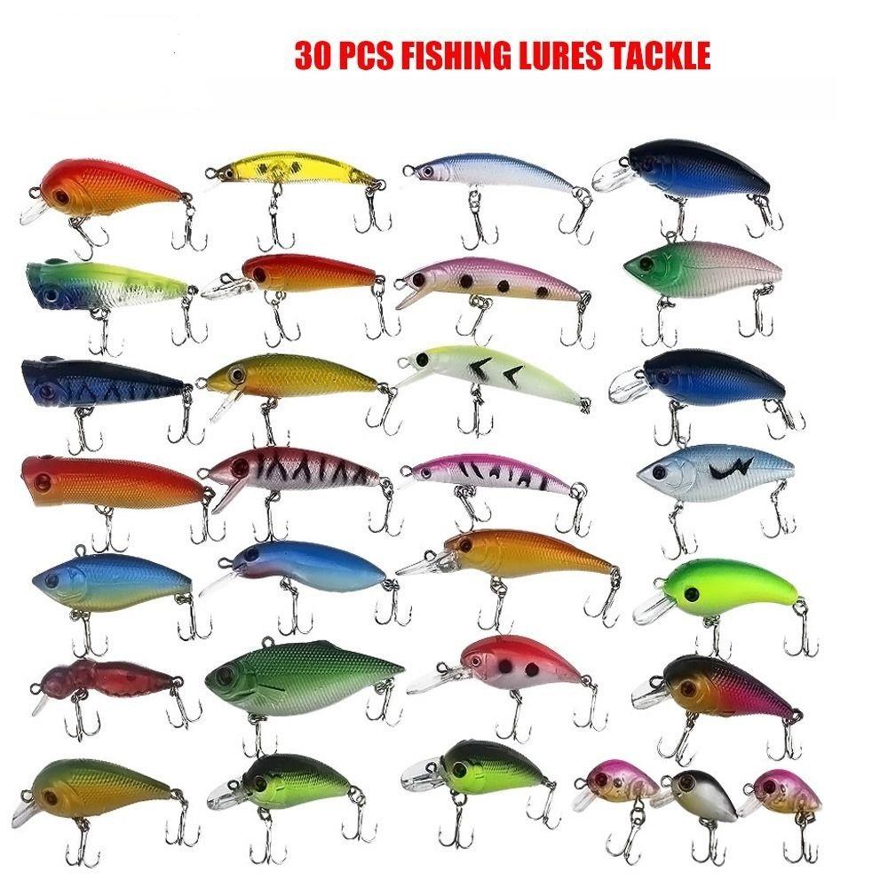 30Pcs Artificial Fishing Lures Plastic Hard Spinner Baits Crankbait Assorted Fish Hooks Tackle Minnow Sharp Shiny Swimbait(China (Mainland))