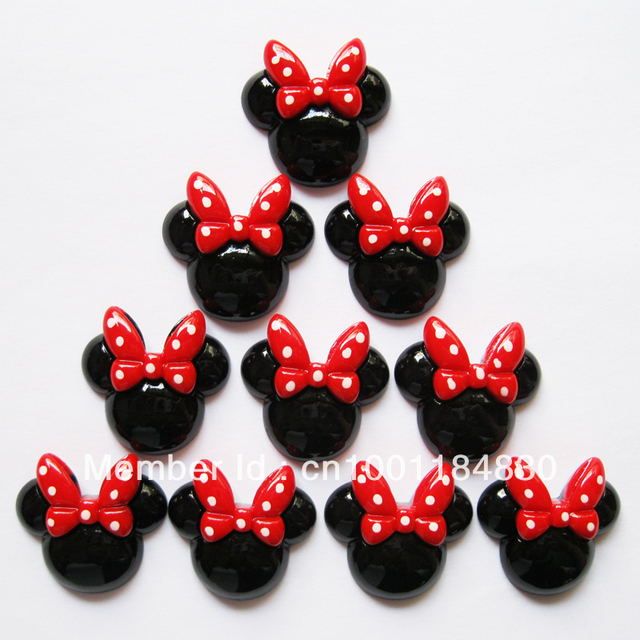 Wholesale Lot 50pcs Minnie Mouse Resin Cabochons Flatbacks Flat Back Girl Hair Bow Center Cell Phone Crafts RE150
