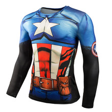2016 New Sport Fitness Compression Shirt Men Superman Bodybuilding Long Sleeve 3D T Gym Crossfit Running Tops Shirts - World Boutique First.,LTD store