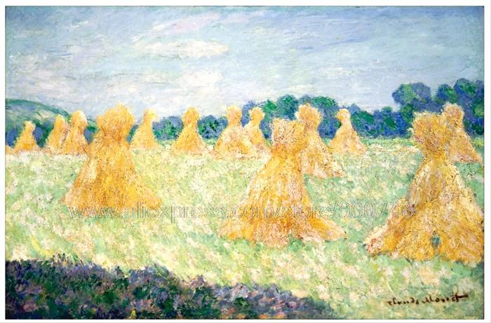 Large Canvas Paintings Artist Brush Modern Impressionist Claude Monet The Young Ladies Of Giverny Sun Effect(China (Mainland))