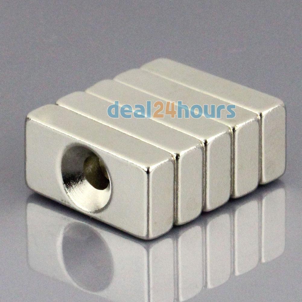 Гаджет  5pcs Super Strong Block Cuboid Neodymium Magnets 20 x 10 x 5mm Countersunk Hole 4mm Rare Earth N50 Free Shipping! None Строительство и Недвижимость