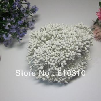 Free shipping 1800pcs 3mm High simulation matte white double heads diy  flower stamen Cake decoration handmade