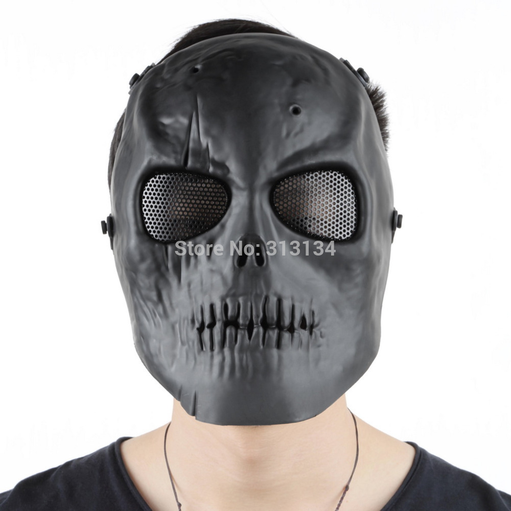 2016 1pc High Quality Skull Skeleton Army Airsoft Paintball BB Gun Full Face Game Protect Mask hot sale black party Skull Mask(China (Mainland))