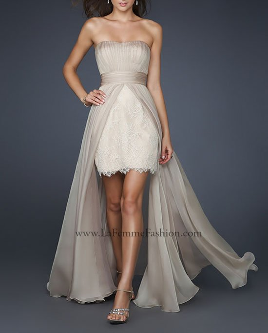2014 Graceful vestidos de festa vestido longo Strapless Pleat High Low Short Front Long Back Chiffon Lace Prom Dresses BC0007 - Beauty Create Dress Store store