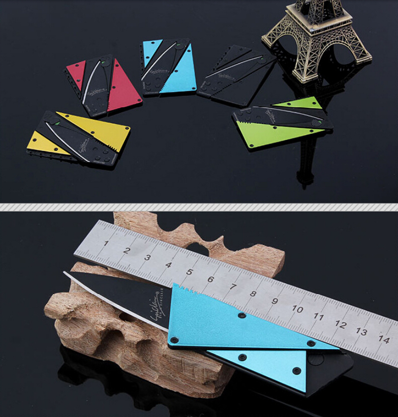 coloful Wallet card knives Folding Safety Mini Pocket Knife Tactical Rescue Black Credit knife tools outdoor - SUMER Co (HK store .,Ltd)