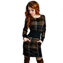 2016 Women Hot Elegant font b Tartan b font Patchwork Tunic Party Evening Pencil Dress Bodycon