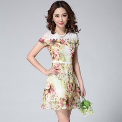 2015 Fashion Summer Floral Printed Organza Short-Sleeve Dress Fit And Flare Dresses