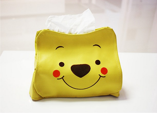 Winnie the Pooh Car Home Cabin Tissue Pumping Holder Paper Box/Cover Bear Design PU Leather Cute Table Decotation Gift Yellow(China (Mainland))