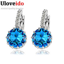 50% off Women Stud Earrings 925 Sterling Silver Black Jewelry Blue Crystal Earring Pink Purple Brincos De Prata Ulove DML49