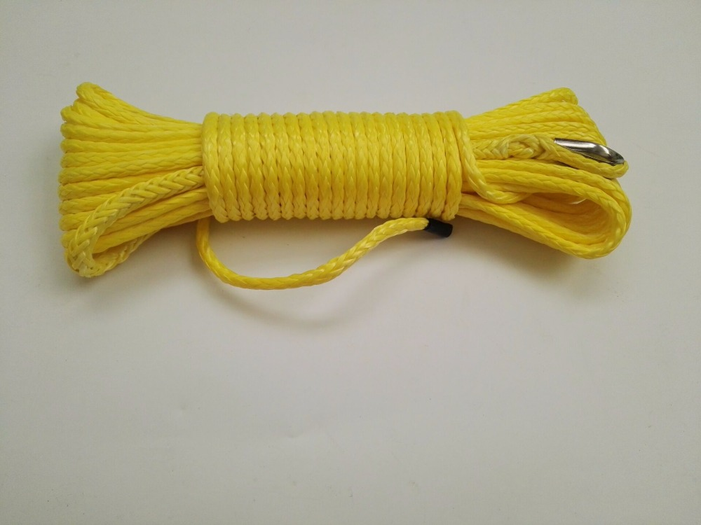 """Free Shipping 3/16""""*50feet Yellow ATV Winch Line,Towing Rope,Synthetic Winch Cable,Warn Winch Rope(China (Mainland))"""