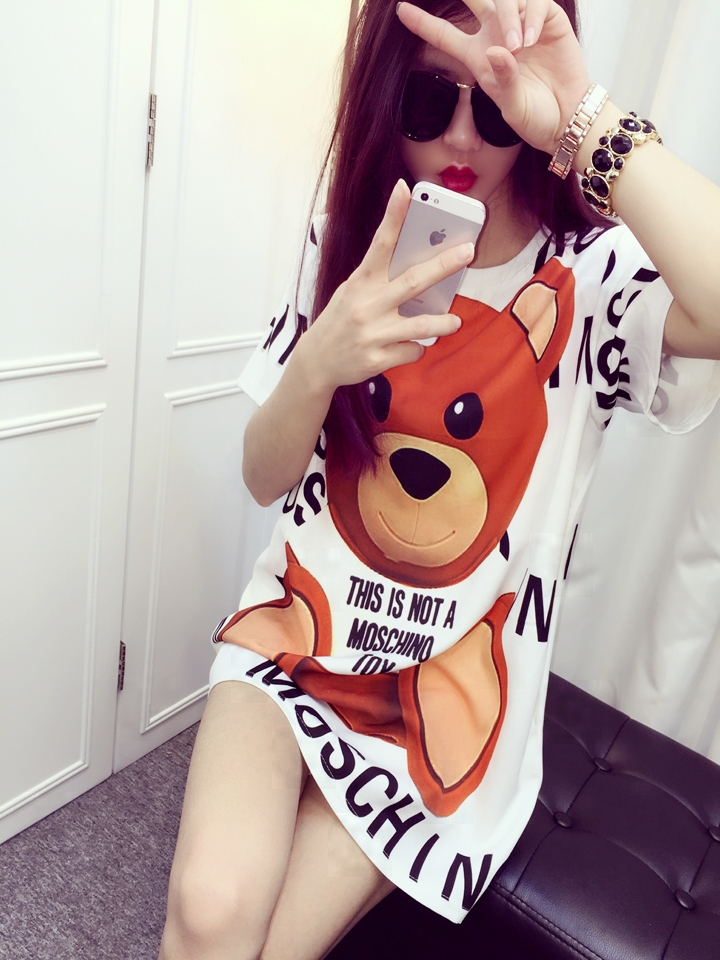 Hot Sale Women Fashion Brand Casual Dresses Summer 2015 New Ladies Cartoon Bear Graphic Letters Printed T-shirt Dress Plus Size(China (Mainland))