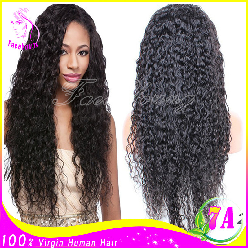 Glueless Full Lace Front Human Hair Wigs For Black Women Unprocessed Brazilian Water Wave Full Lace Wig With Baby Hair Free Ship(China (Mainland))