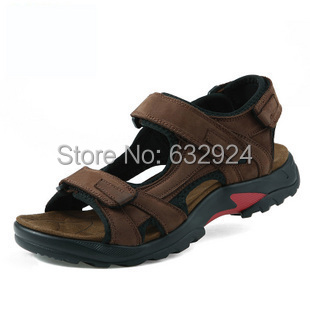 High Quality Men Sandals 2015 Genuine Leather Beach Sandals for Men Plus Size 38-48 Outdoor Rubber Bottom Men's Summer Shoes(China (Mainland))