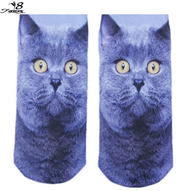 Новый милый кот шаблон женщины носки 3D напечатаны мужская симпатичные носки несколько ...
