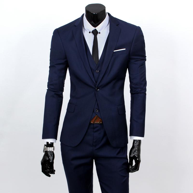 (Vest + suit + pants) 2016 men's fashion three-piece formal blazer suit / Male suit of cultivate one's morality Business suits(China (Mainland))