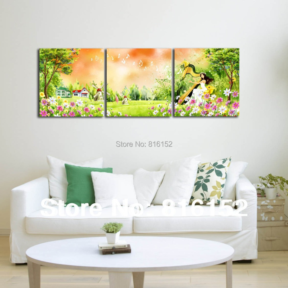 Forest Harp Fairy Multi Panel Paintings Wall Art Canvas Print Oil Painting For Kids Bedroom