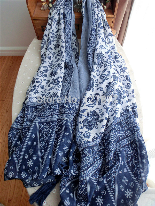 Chinese retro national style blue and white porcelain fringed cotton and linen scarf trade literary elegance large shawl scarves(China (Mainland))