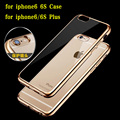 Ultra Thin Clear Crystal Rubber Plating Electroplating TPU Soft Mobile Phone Case For Apple iPhone 6